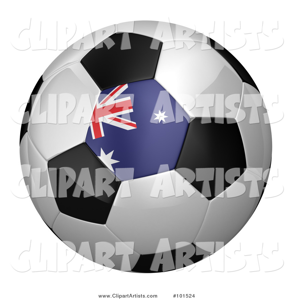 Australian Flag on a Traditional Soccer Ball