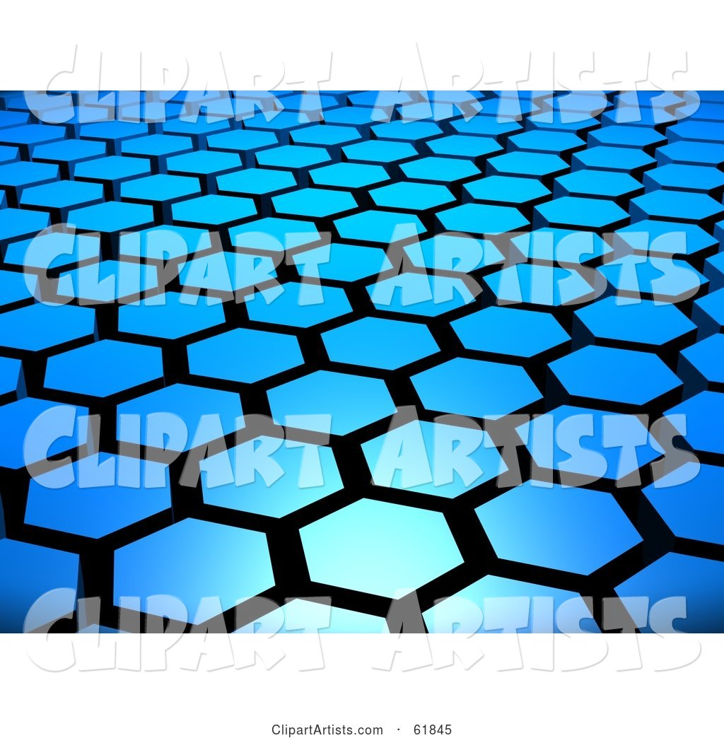 Background of Blue Hexagon Tiles Arranged in Formation with Black Grout