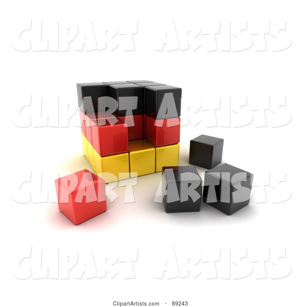 Black, Red and Yellow German Puzzle Cube