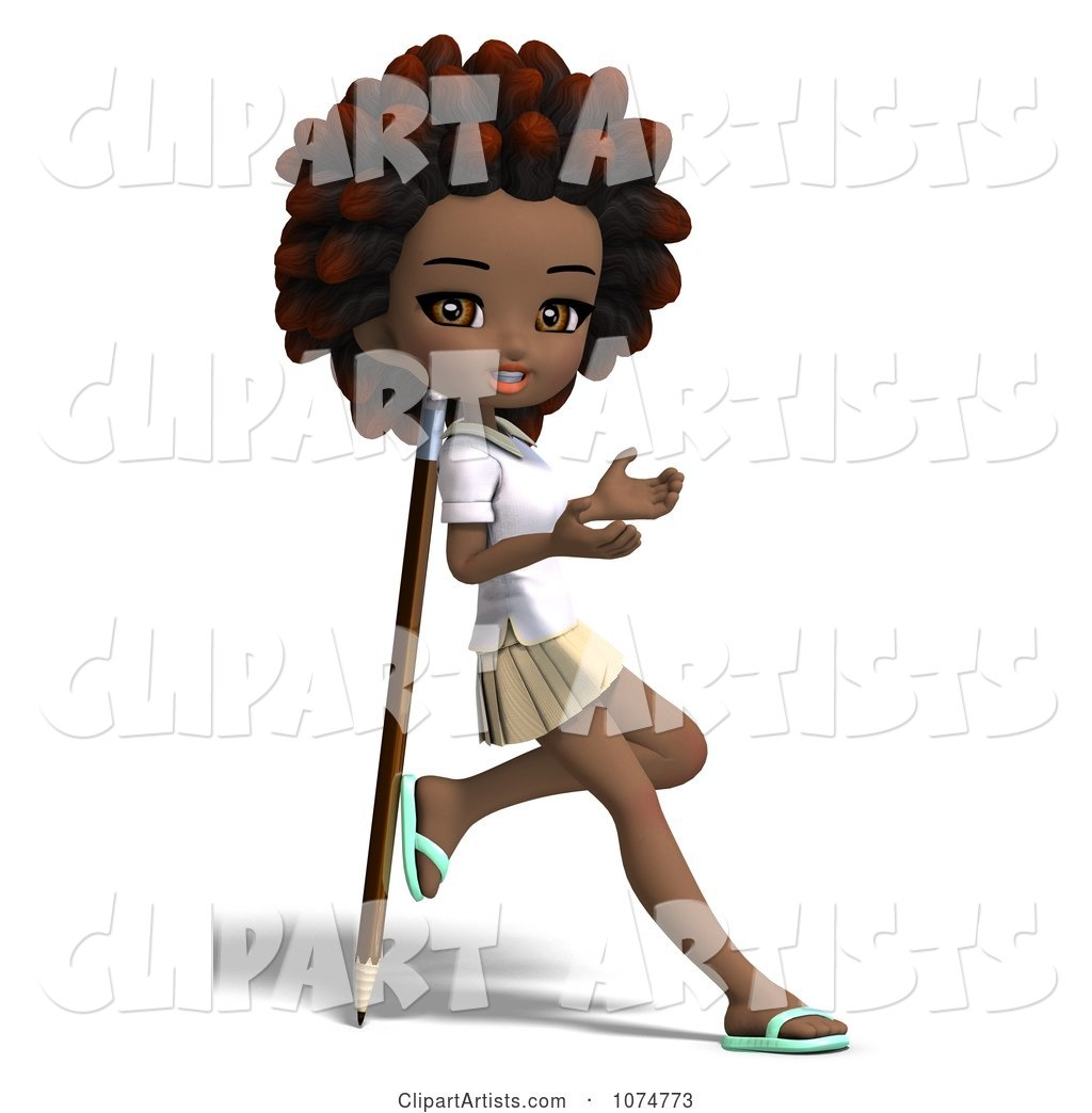 Black School Girl with an Afro Leaning Against a Pencil
