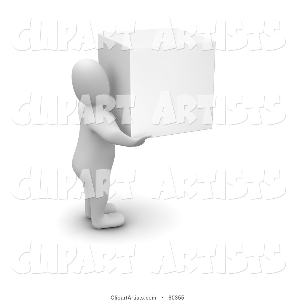 Blanco Man Character Carrying a White Cube