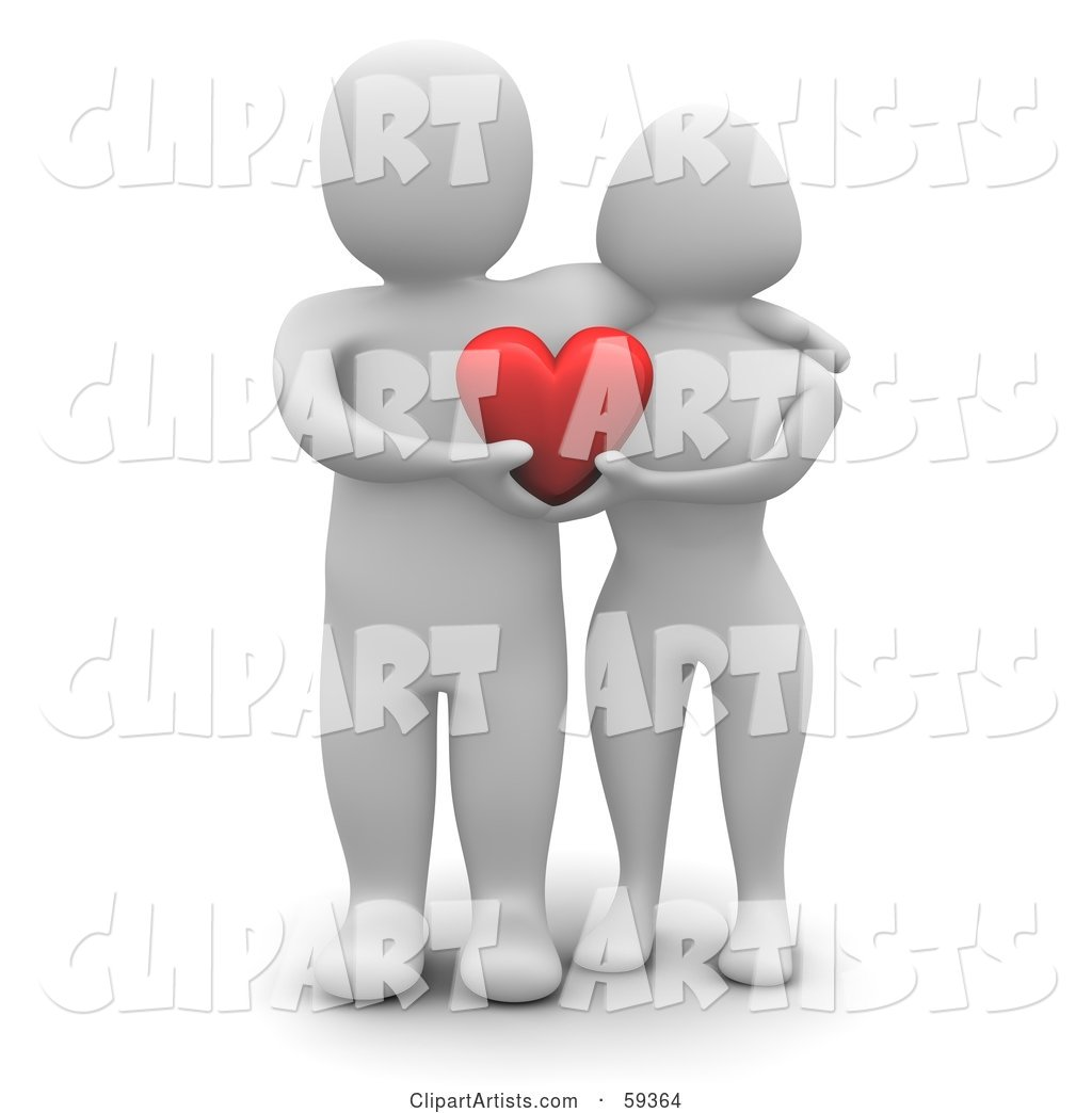Blanco Man Character Couple Standing Together and Holding a Heart