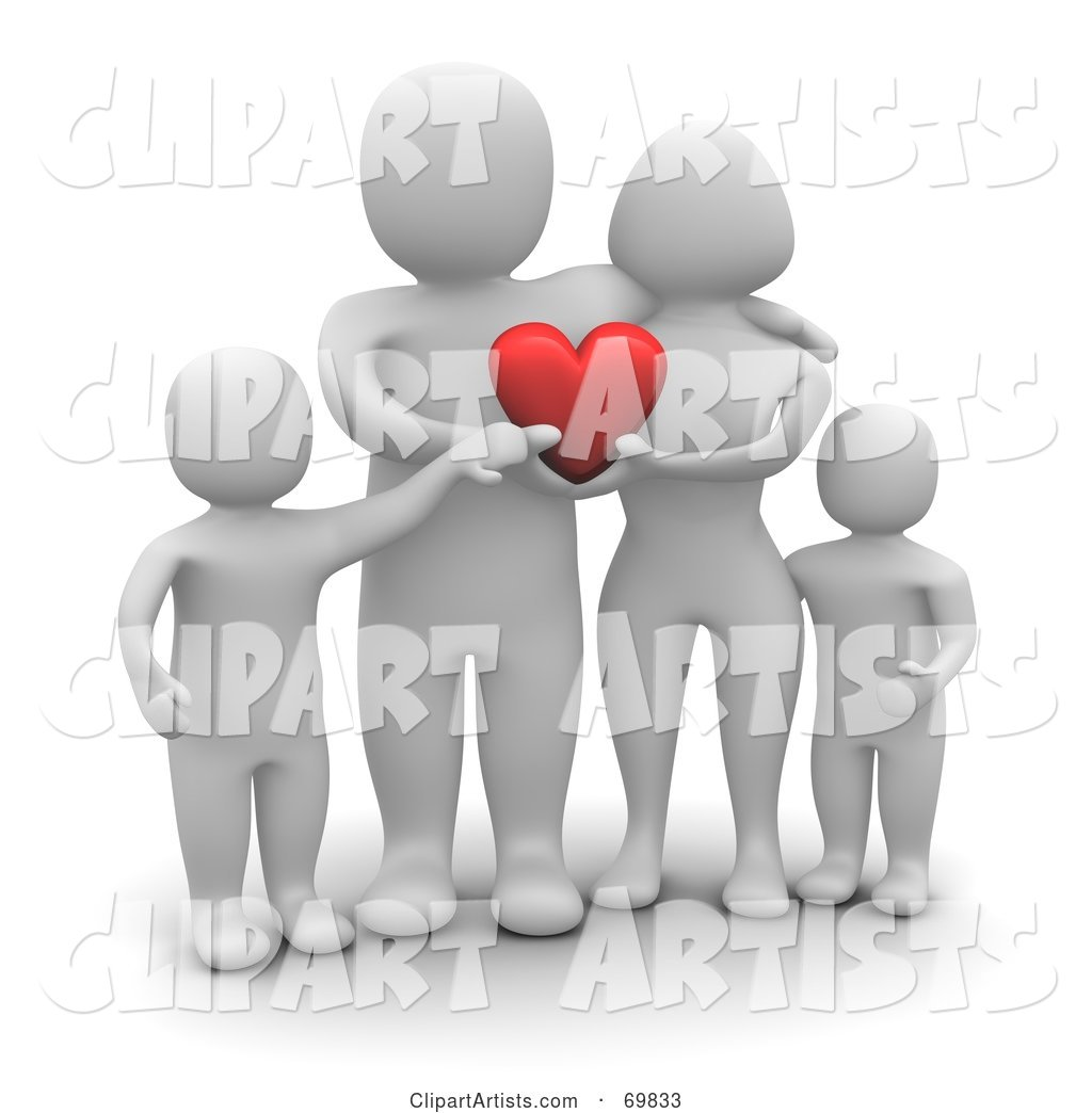 Blanco Man Character Family Holding a Heart