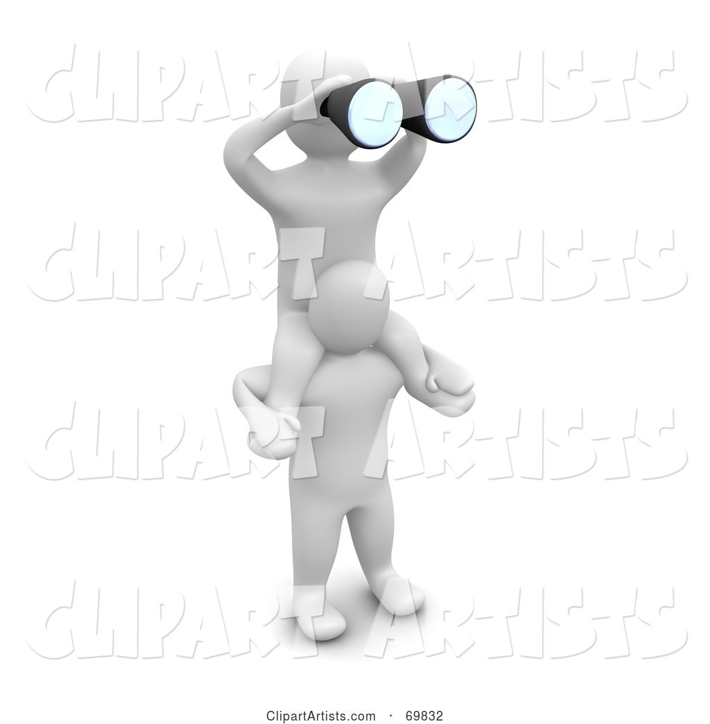 Blanco Man Character Holding a Partner, Peering Through Binoculars