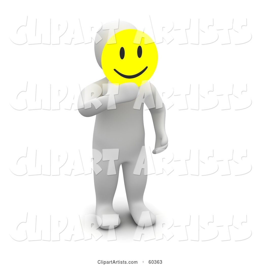 Blanco Man Character Holding a Yellow Emoticon Smiley Face