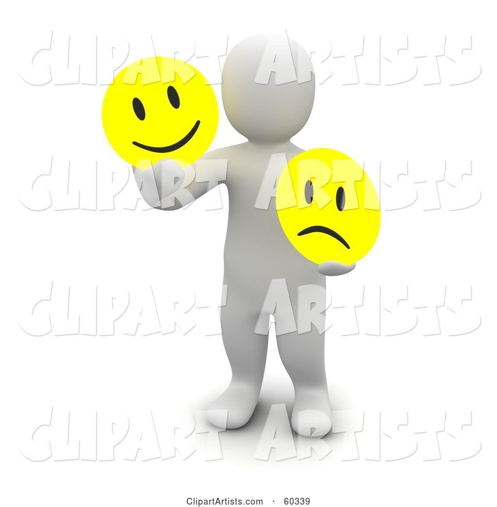 Blanco Man Character Holding Happy and Sad Faces