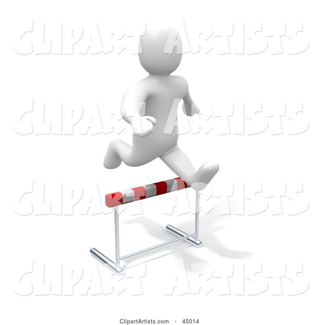 Blanco Man Character Leaping over a Hurdle