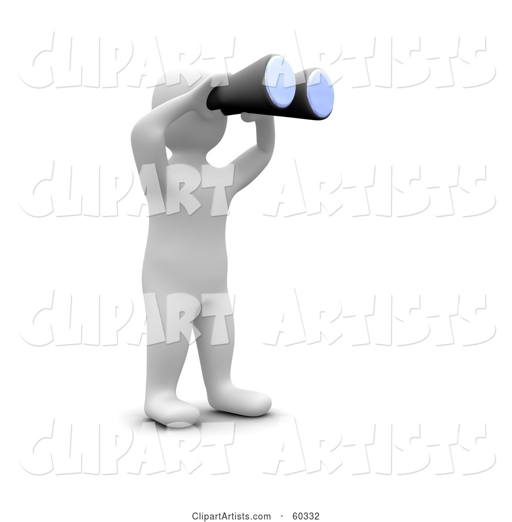 Blanco Man Character Using Binoculars