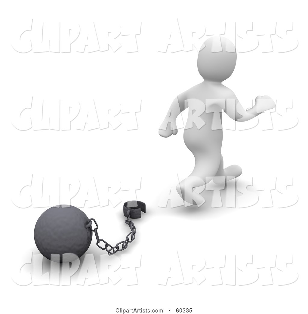 Blanco Man Character Walking Away from a Ball and Chain, Symbolizing Divorce, Debt Free and Freedom