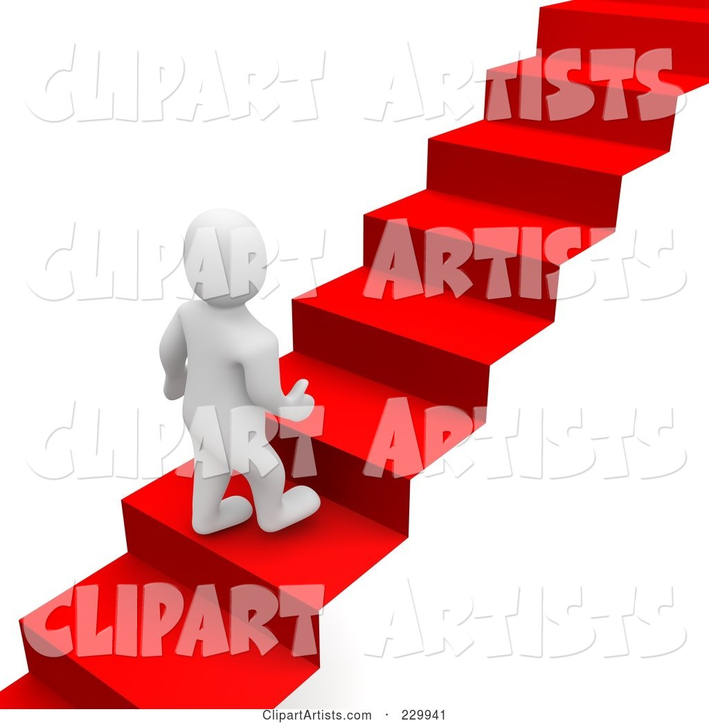 Blanco Man Climbing up a Red Carpet Staircase