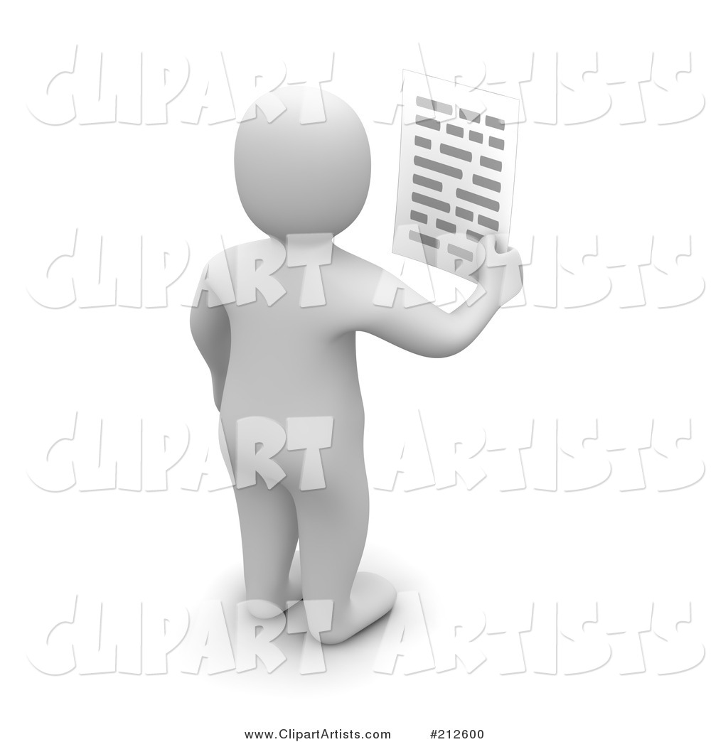 Blanco Man Facing Away and Holding a Letter