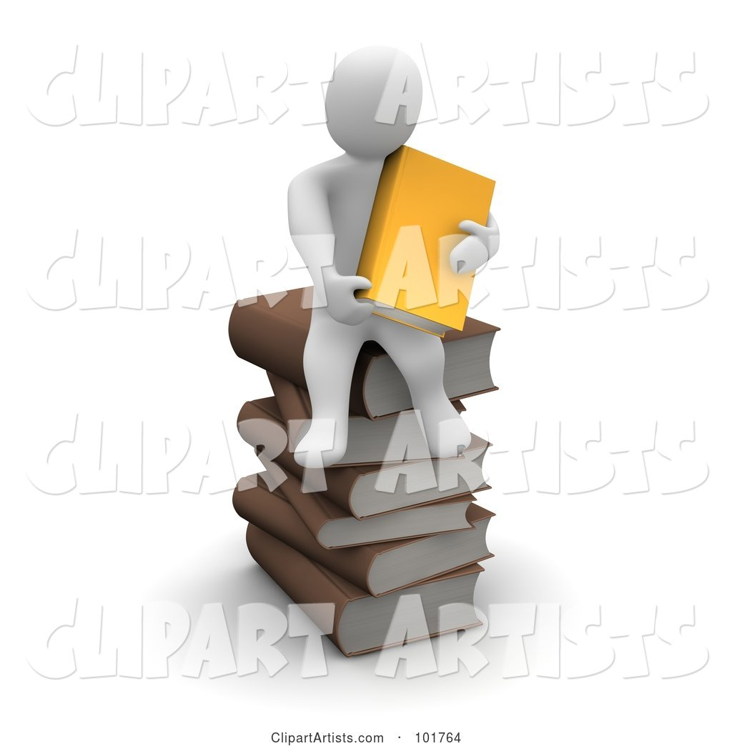 Blanco Man Holding an Orange Book and Sitting on a Pile of Books