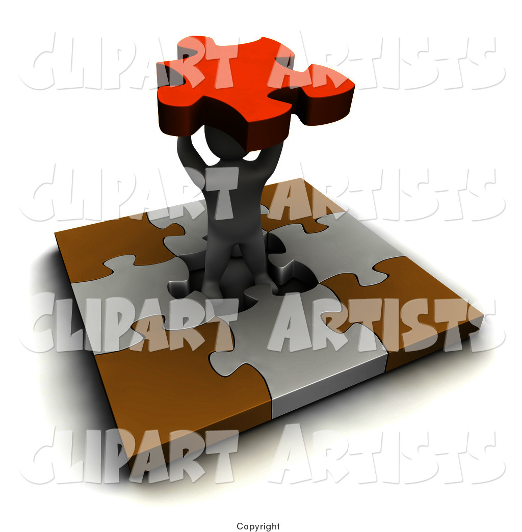 Blanco Man in the Center of a Puzzle, Holding a Piece