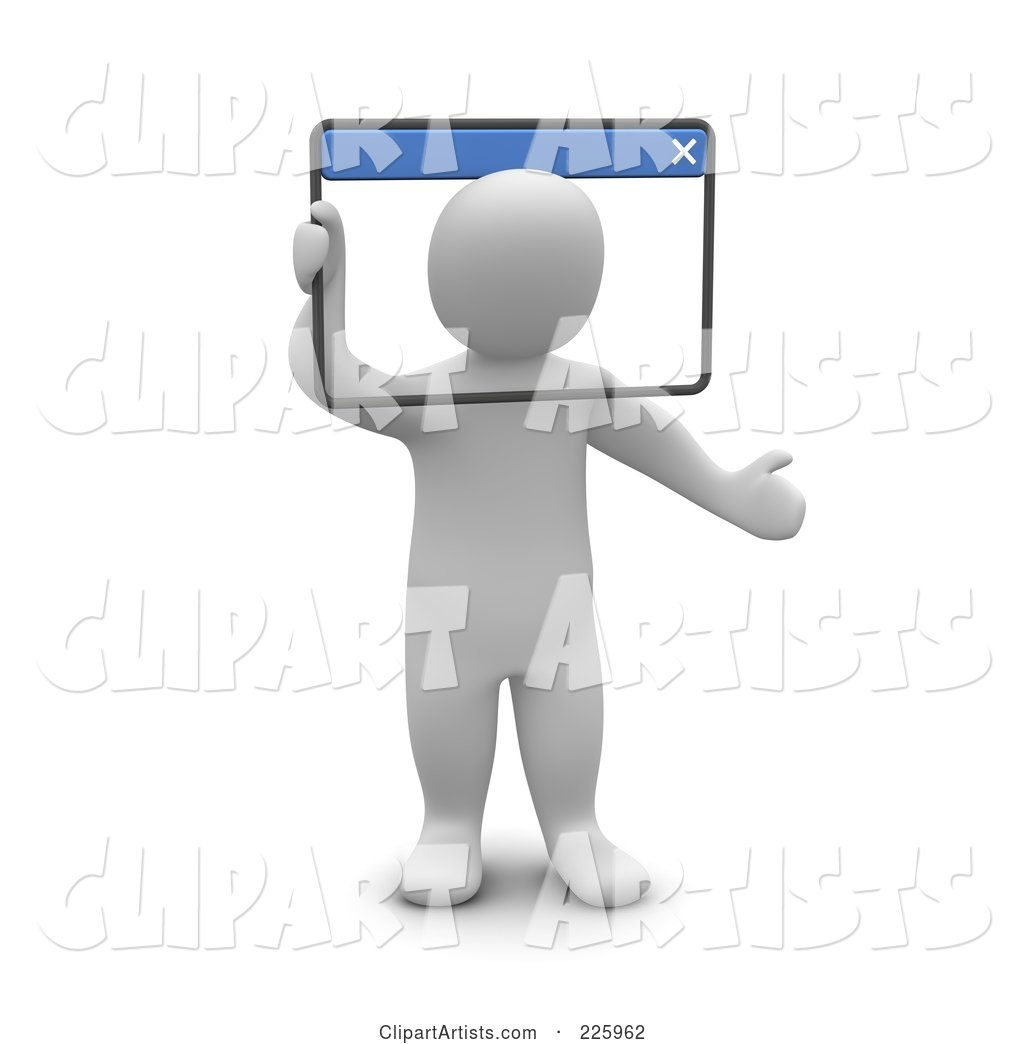 Blanco Man Looking Through a Web Browser