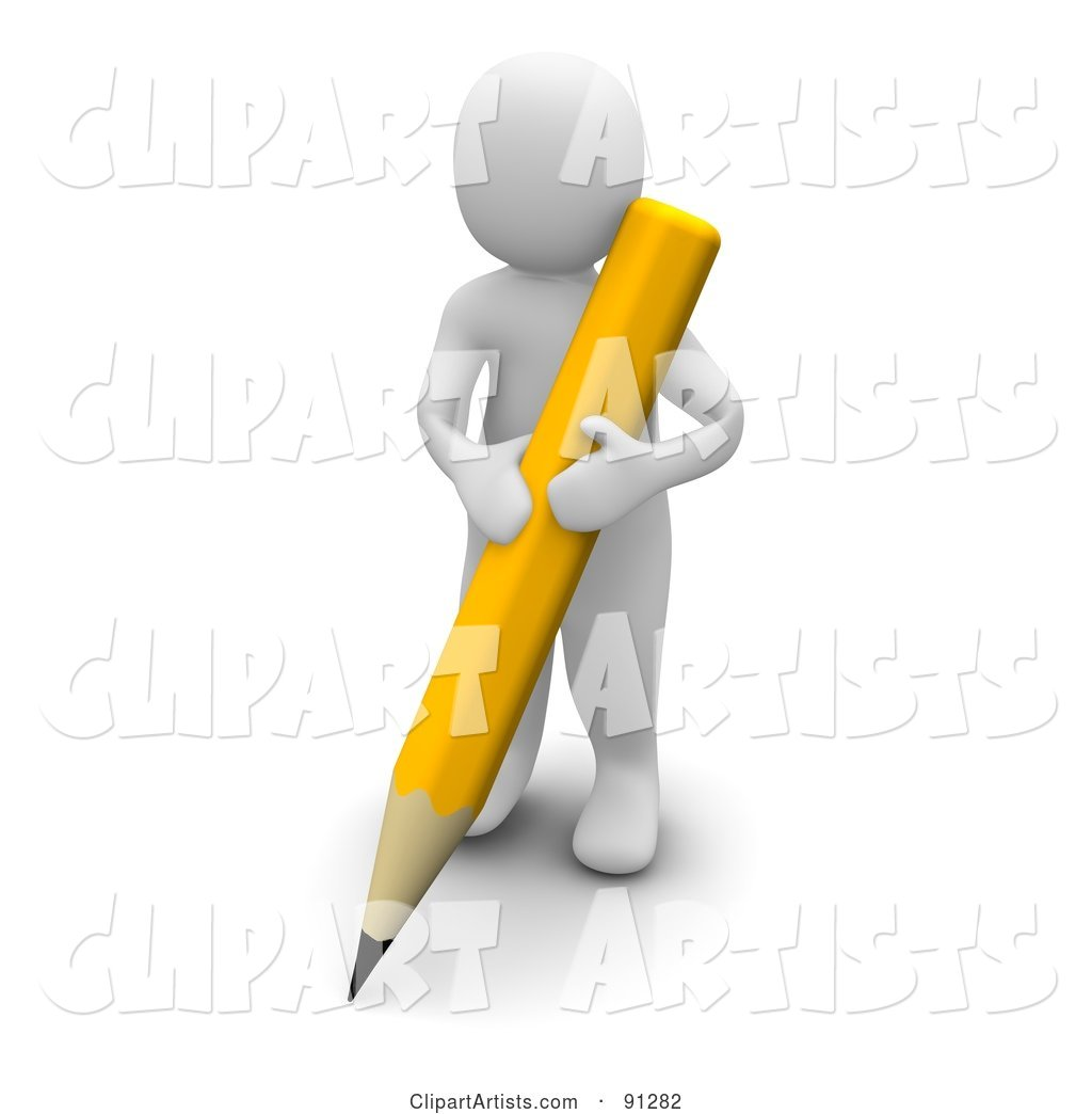 Blanco Man Writing with a Yellow Pencil