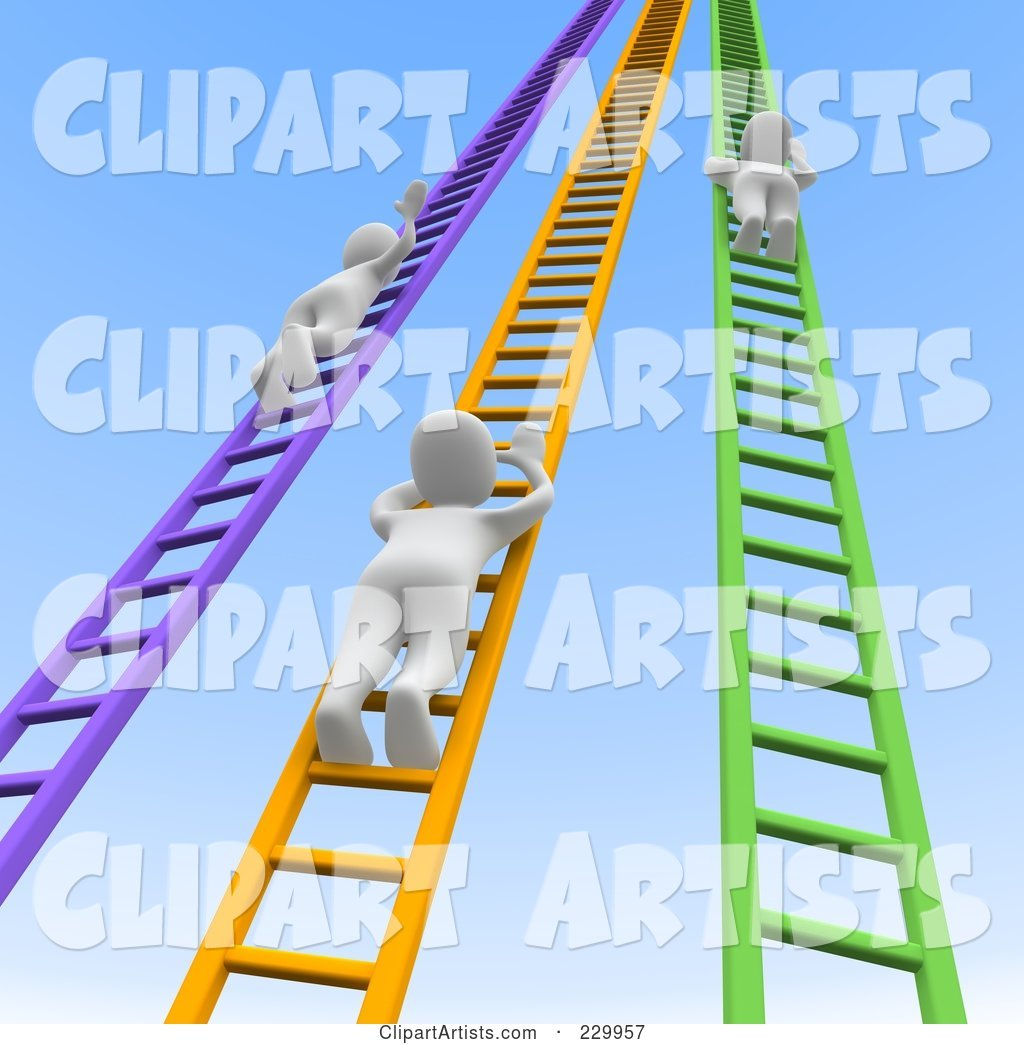 Blanco Men Climbing up Colorful Ladders into the Sky