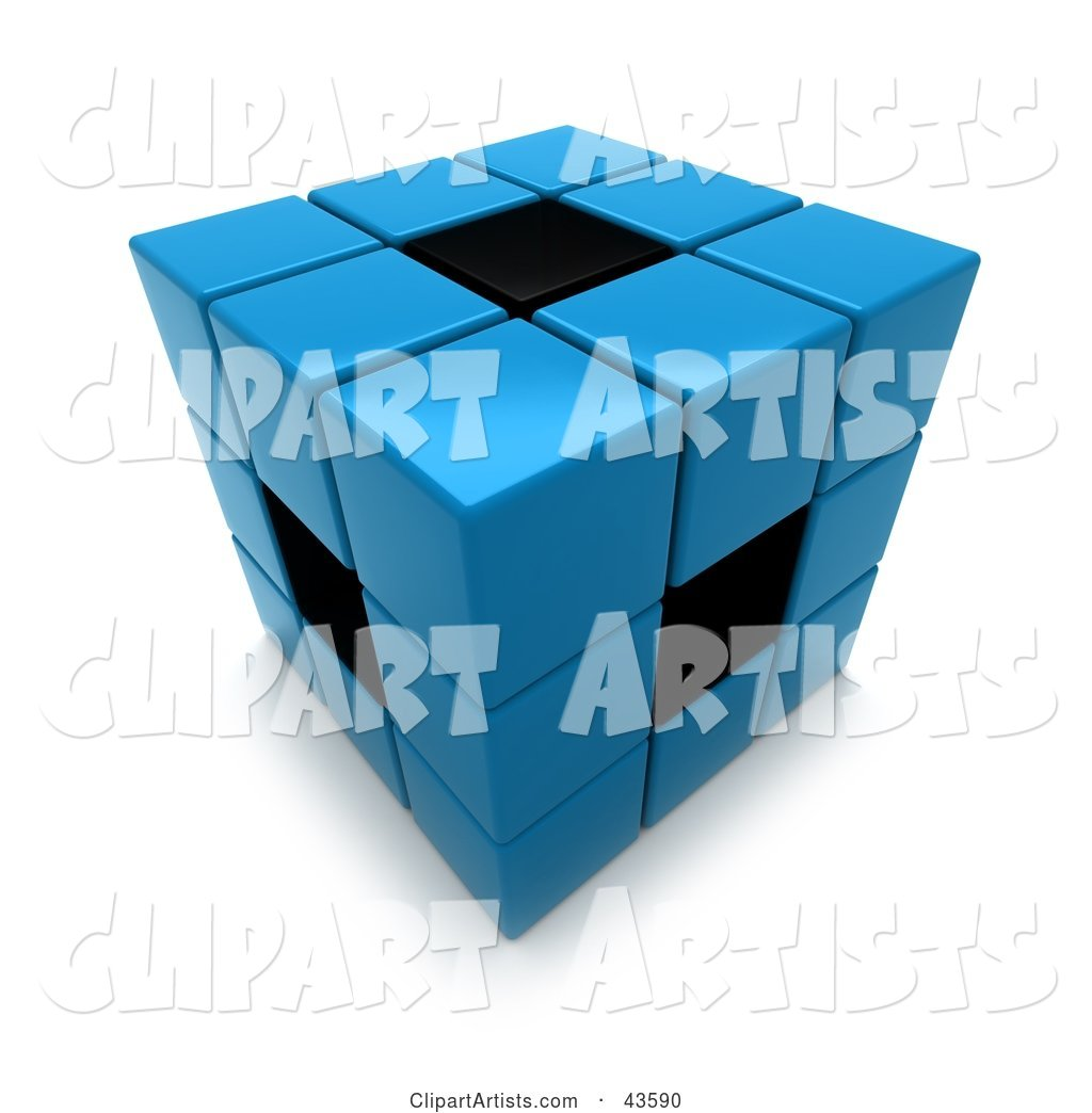 Blue and Black Puzzle Cube