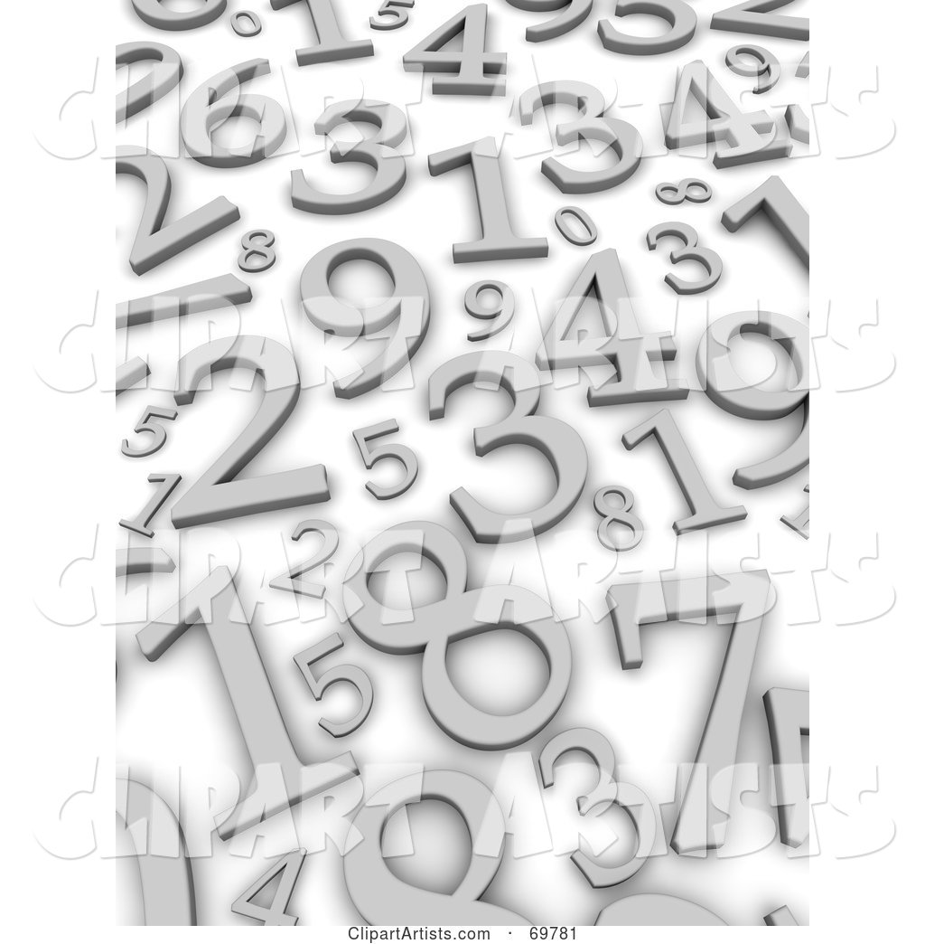 Blue Background with Scattered Silver Numbers
