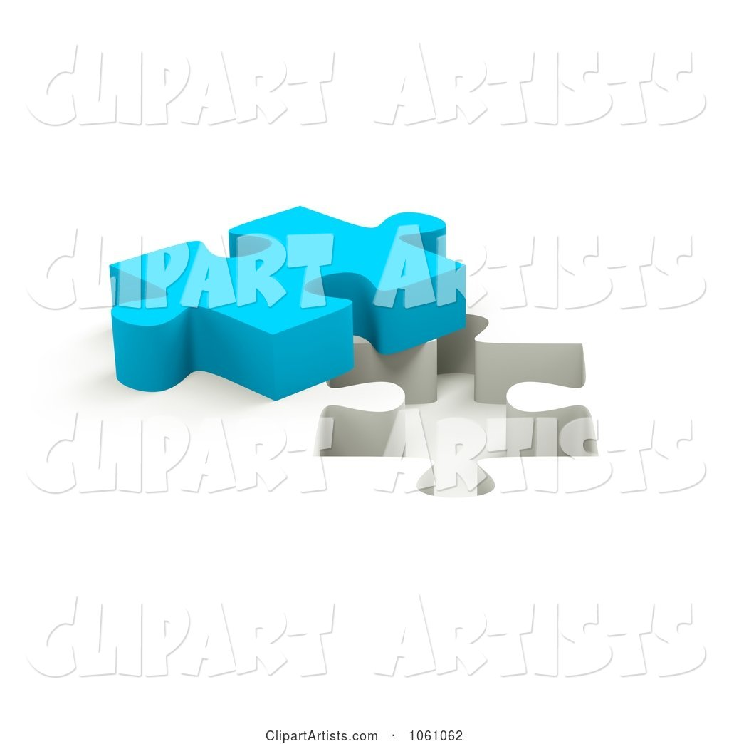 Blue Jigsaw Puzzle Piece by a Hole