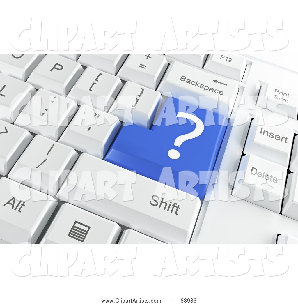 Blue Question Mark Button on a Computer Keyboard