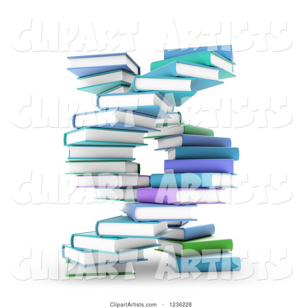 Books Forming a DNA Spiral