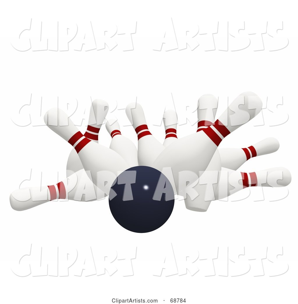 Bowling Ball Crashing Hard into Bowling Pins on White