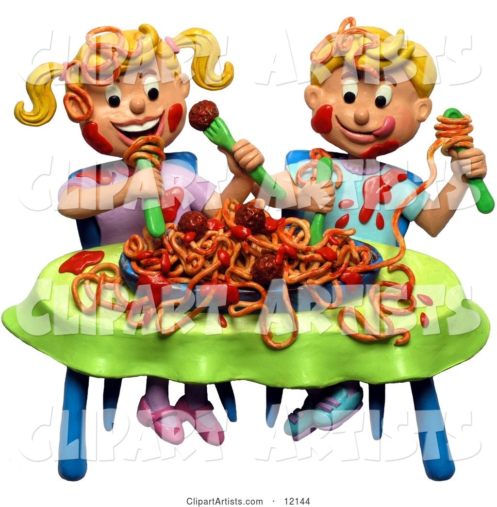 Boy and Girl Making a Mess During a Spaghetti Dinner