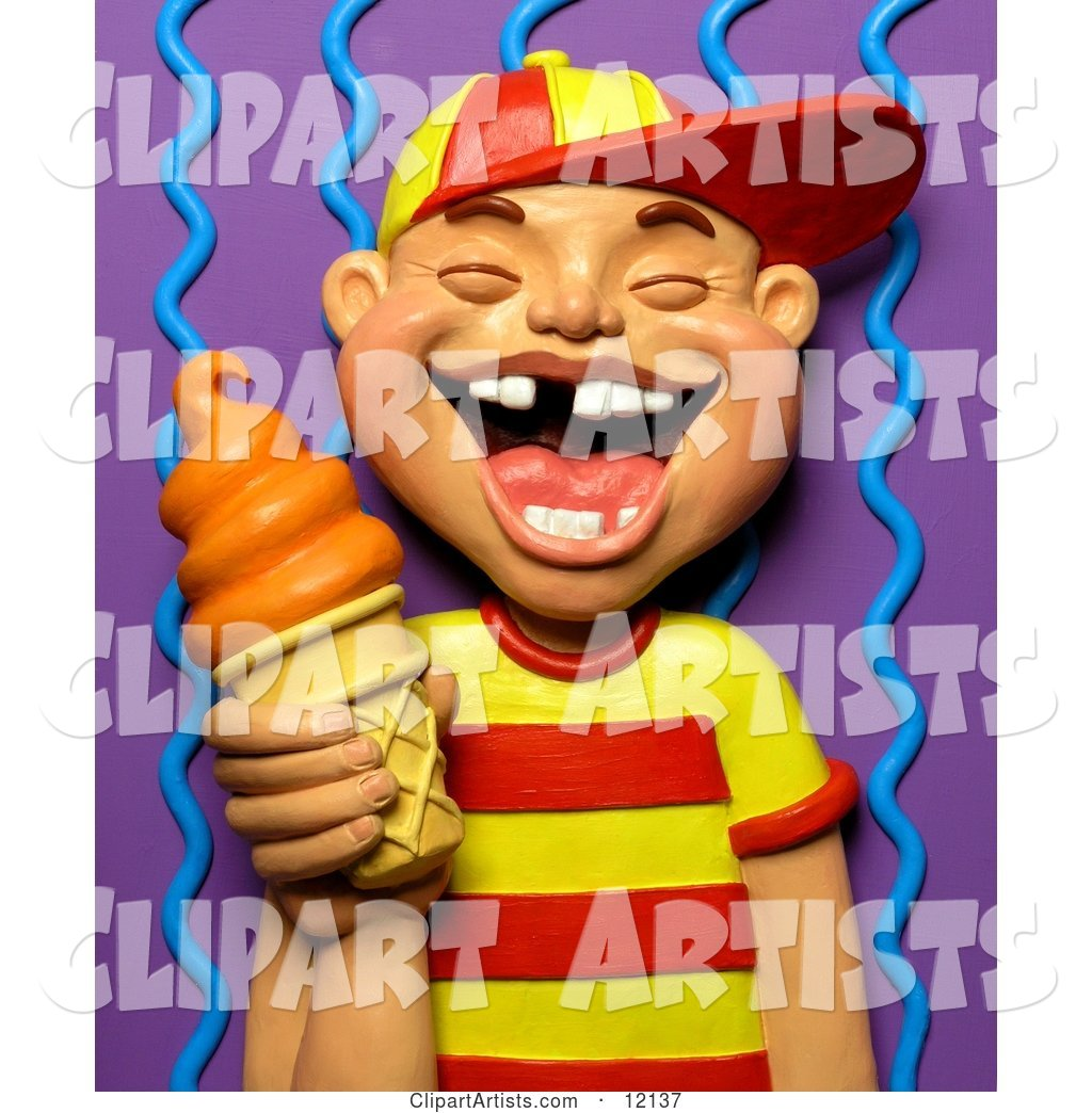 Boy with Missing Teeth Smiling and Holding an Orange Ice Cream Cone