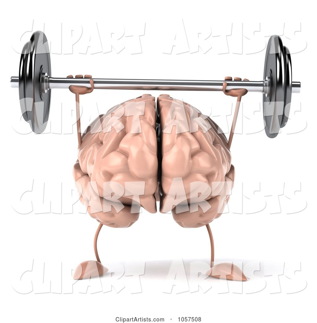 Brain Character Lifting a Barbell - 1