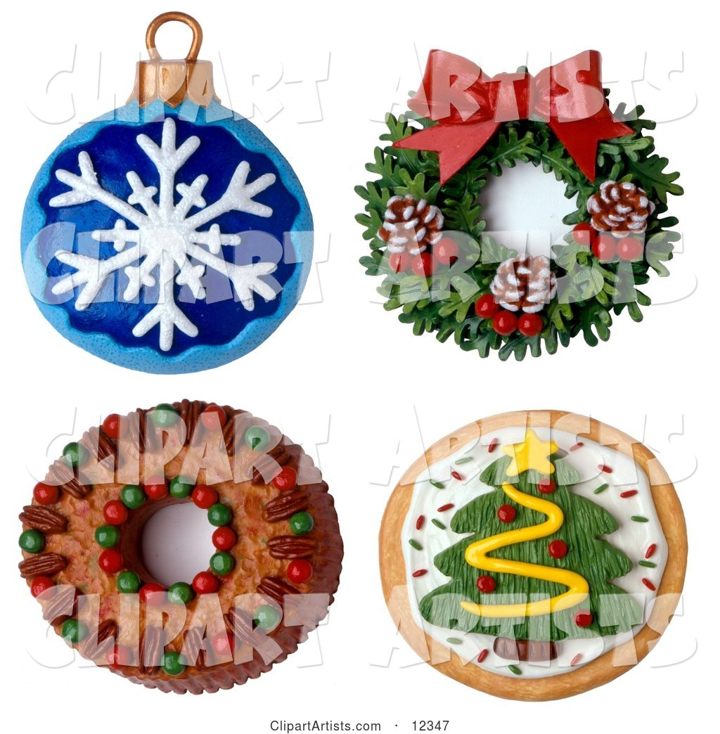 Christmas Ornament Wreath Cake and Cookie