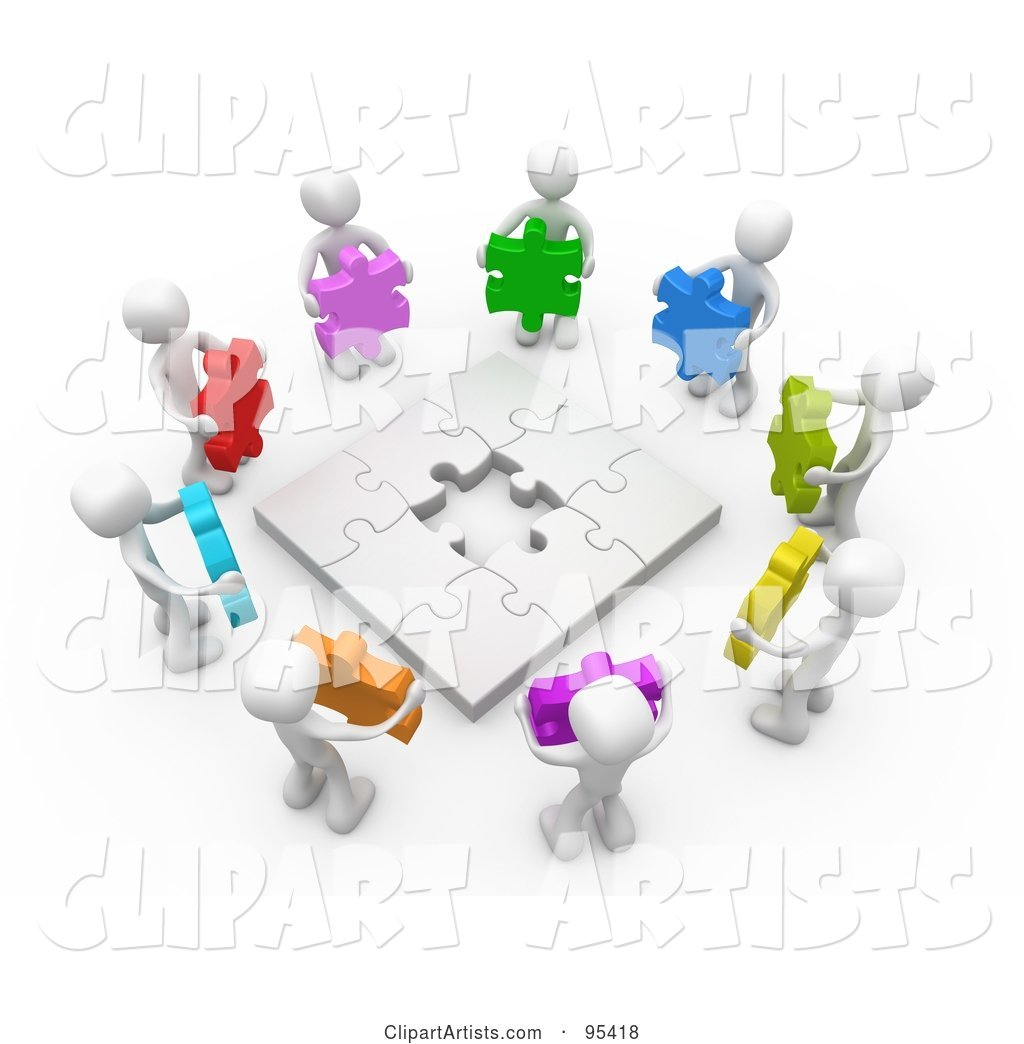 Circle of White People Holding Different Colored Puzzle Pieces Around a Nearly Complete Puzzle