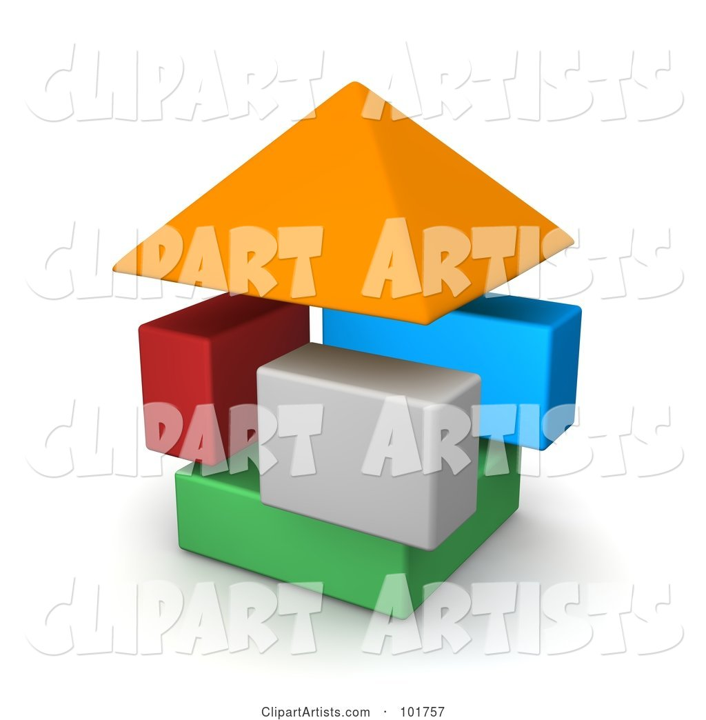 Colorful Blocks Forming a House