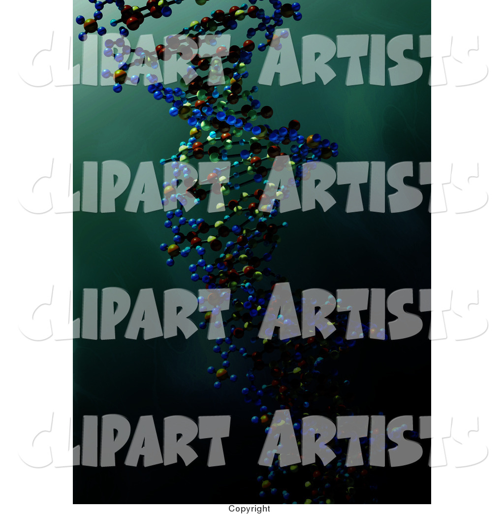 Colorful Dna Strand over a Greenish Blue Water like Background