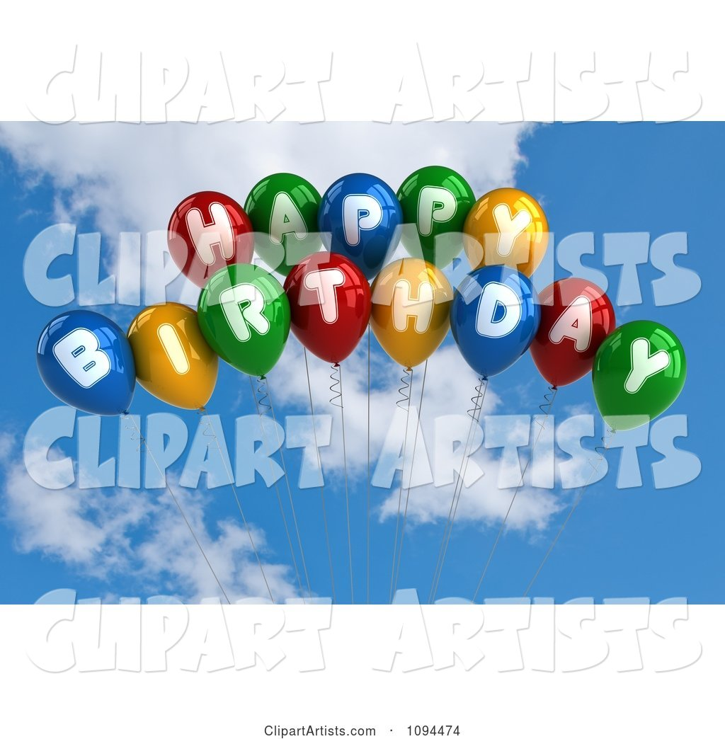 Colorful Happy Birthday Balloons in the Sky