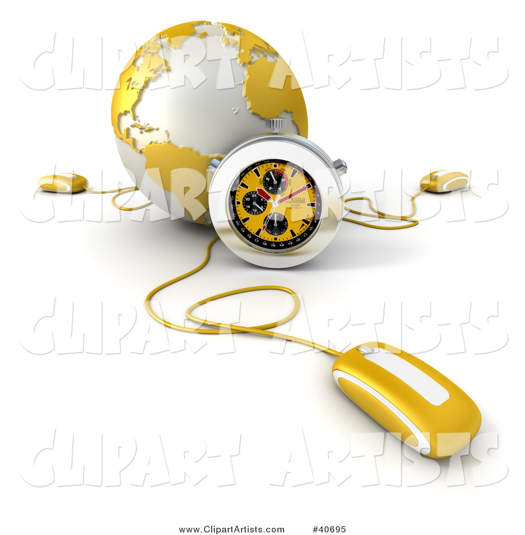 Computer Mouse Connected to a Yellow Globe, with a Stopwatch