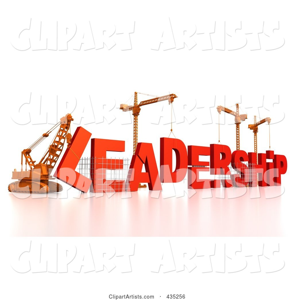 Construction Cranes and Lifting Machines Assembling the Word LEADERSHIP