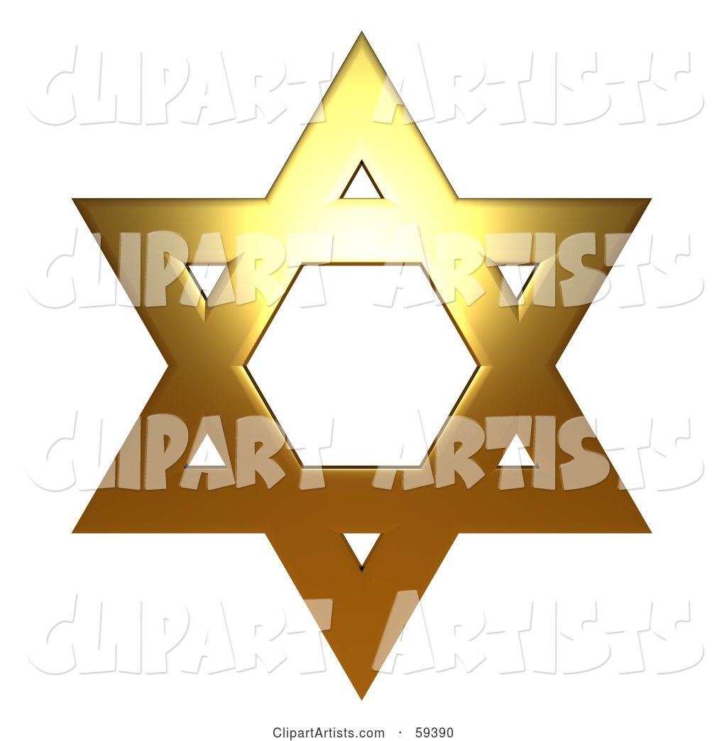 Copper Star of David on White