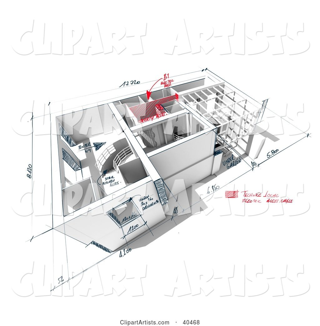 Custom Home Model with Sketches and Dimensions