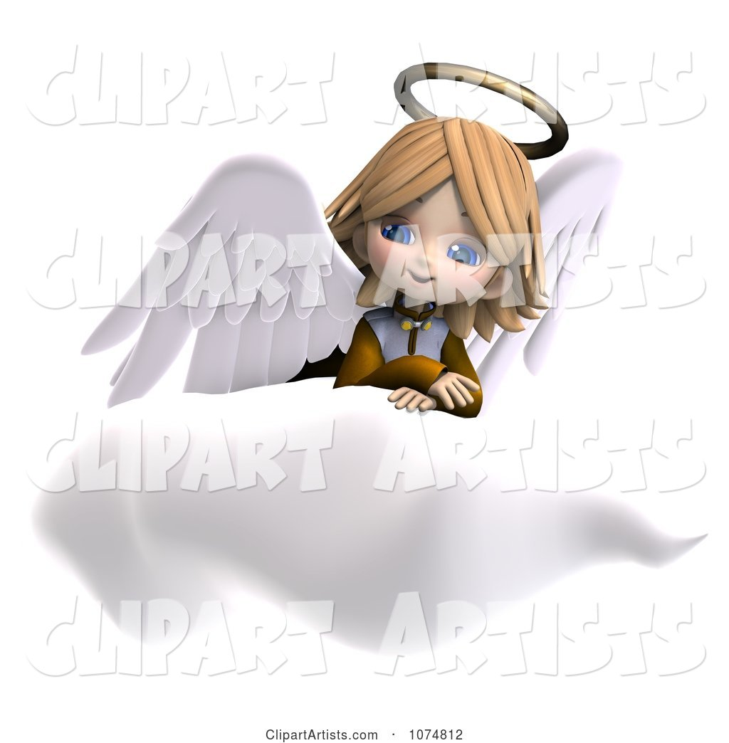 Cute Angel Girl Sitting on a Cloud 3