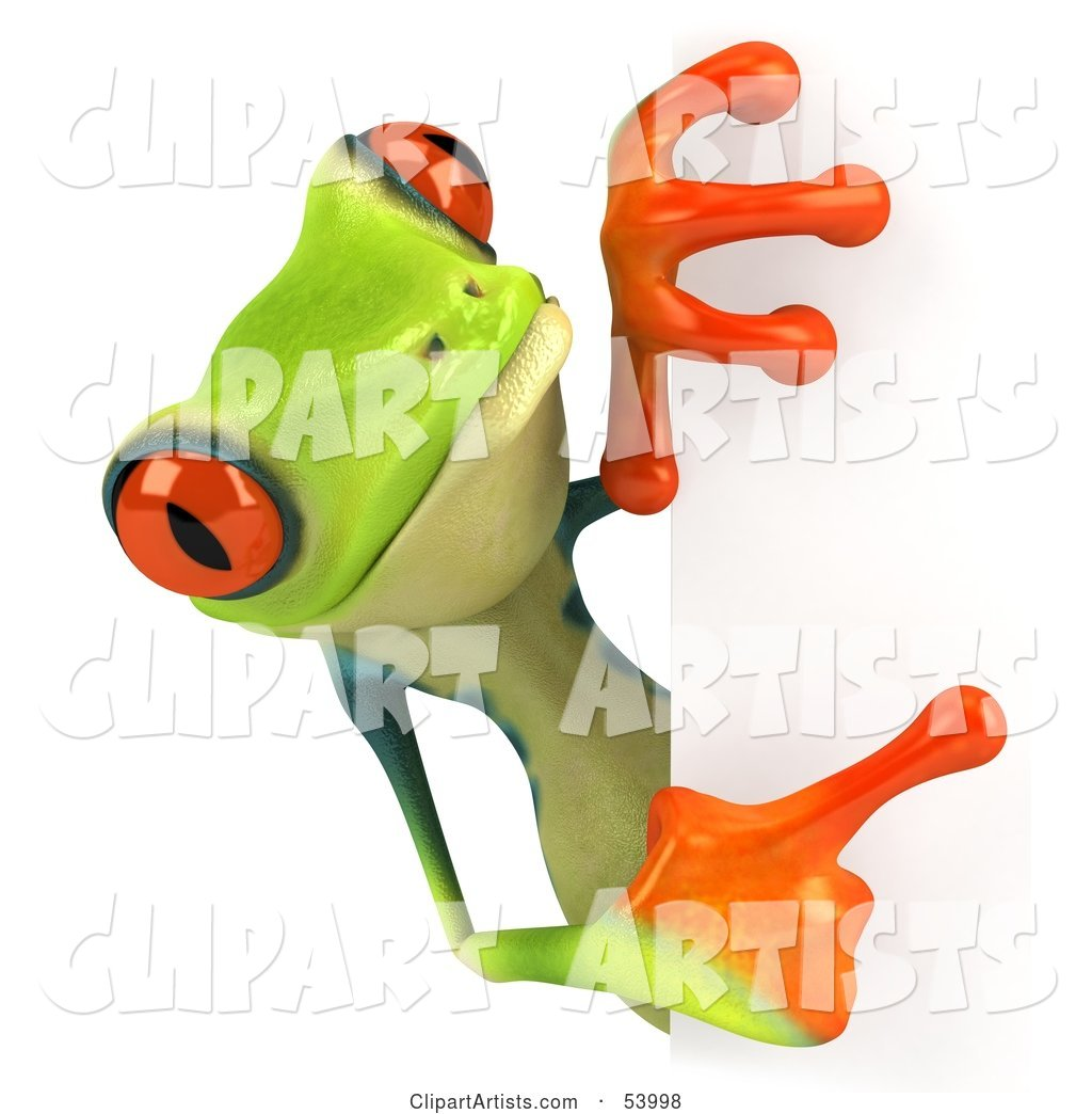 Cute Green Poison Dart Frog Looking Around a Blank Sign - Pose 4