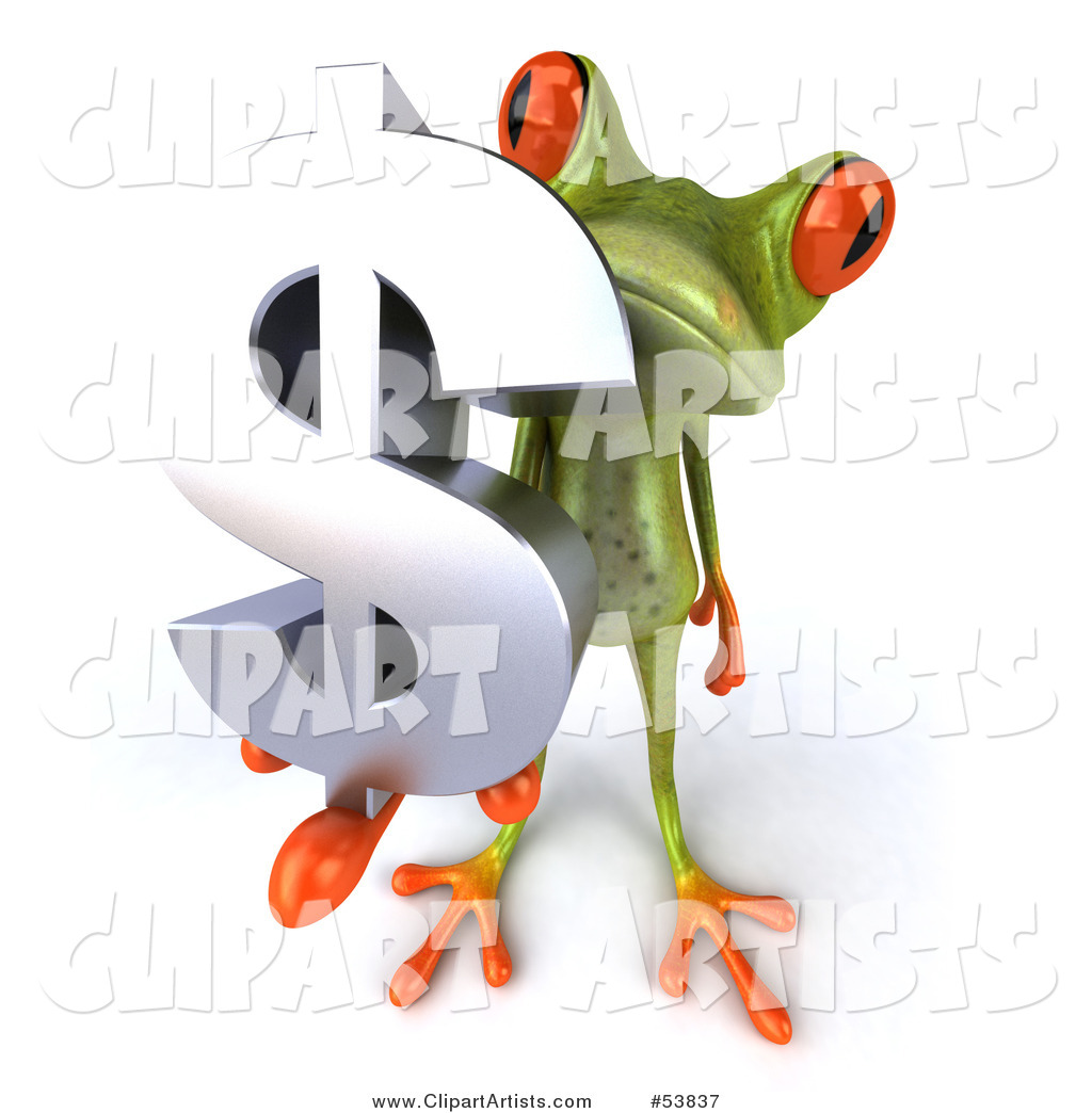 Cute Green Tree Frog Holding a Silver Dollar Symbol - Pose 2