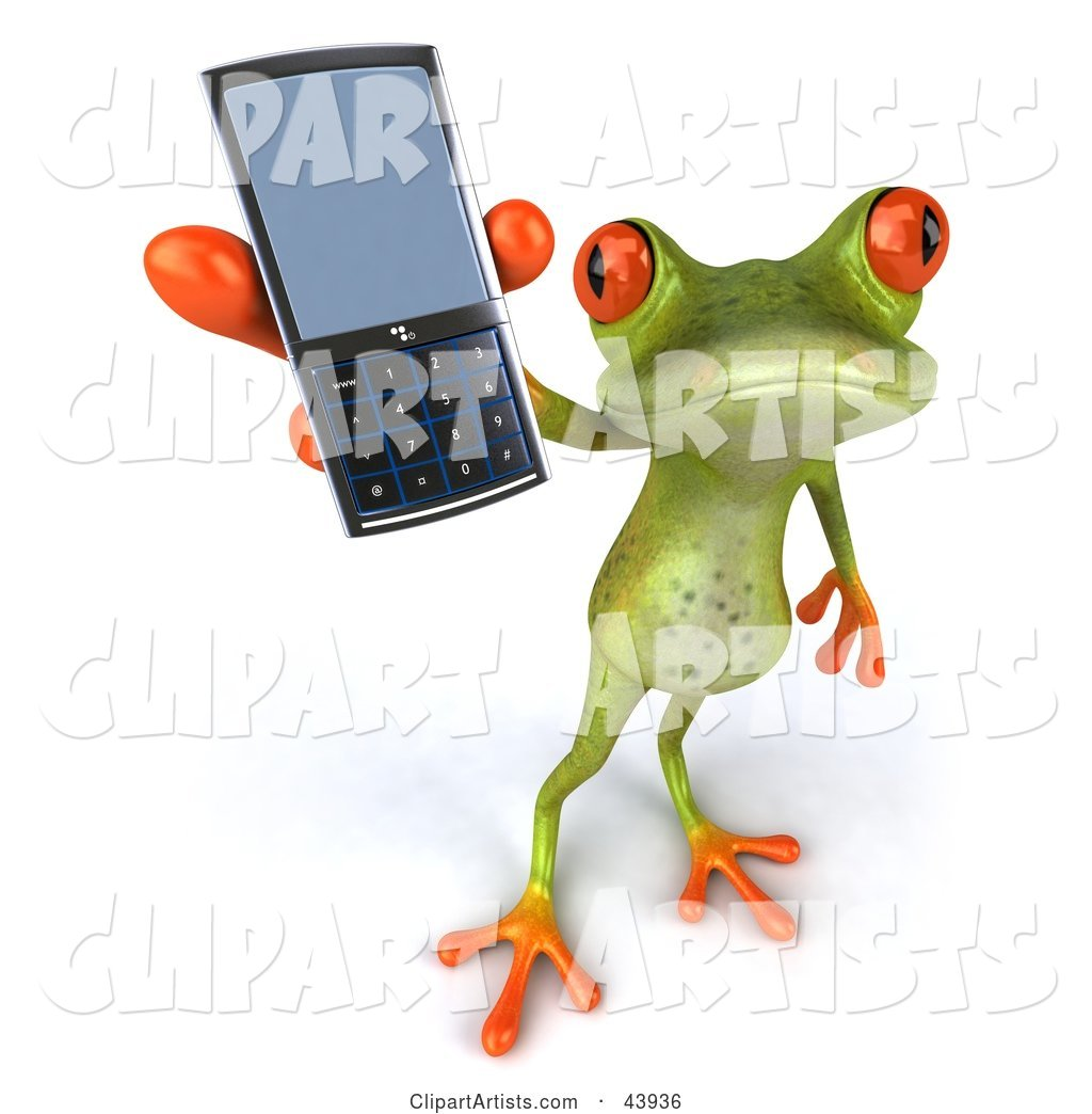 Cute Green Tree Frog Holding up a Cell Phone