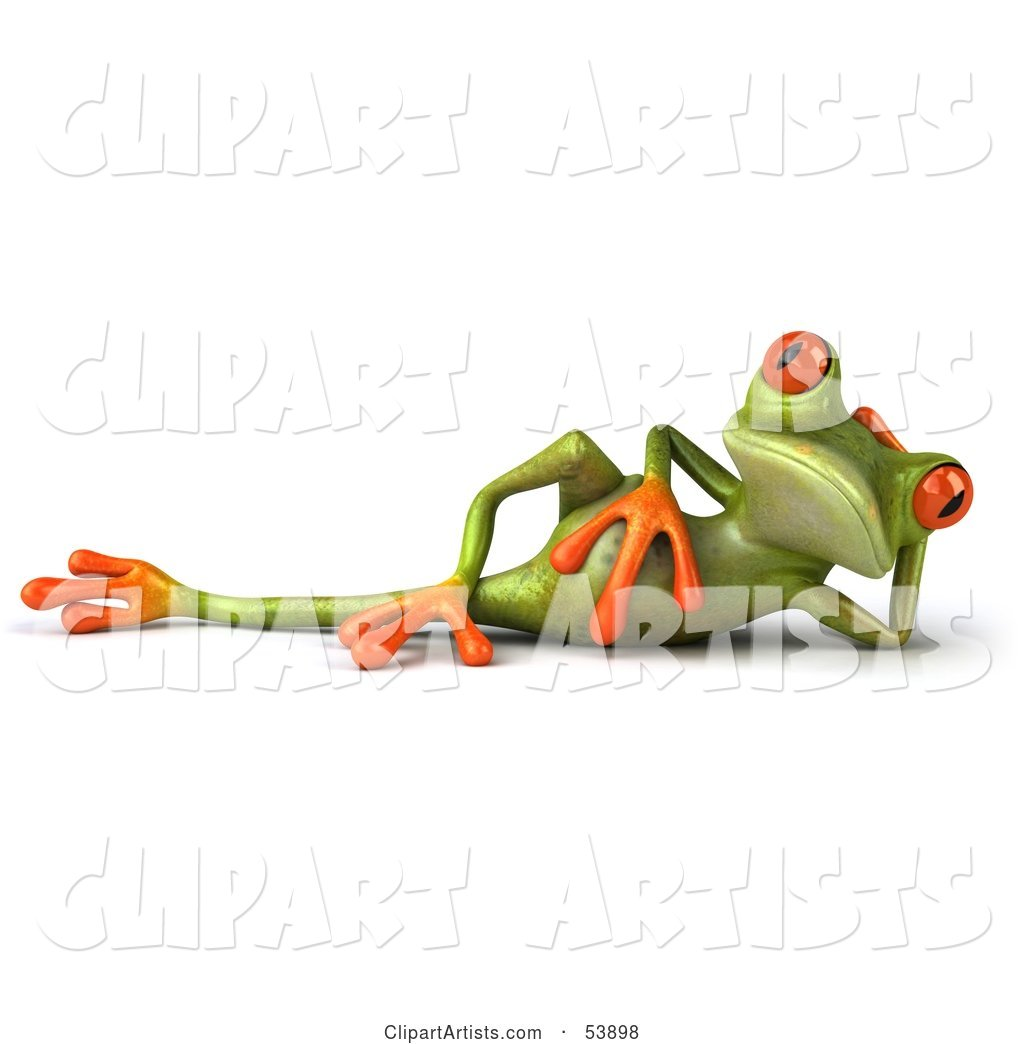 Cute Green Tree Frog Relaxed and Reclined