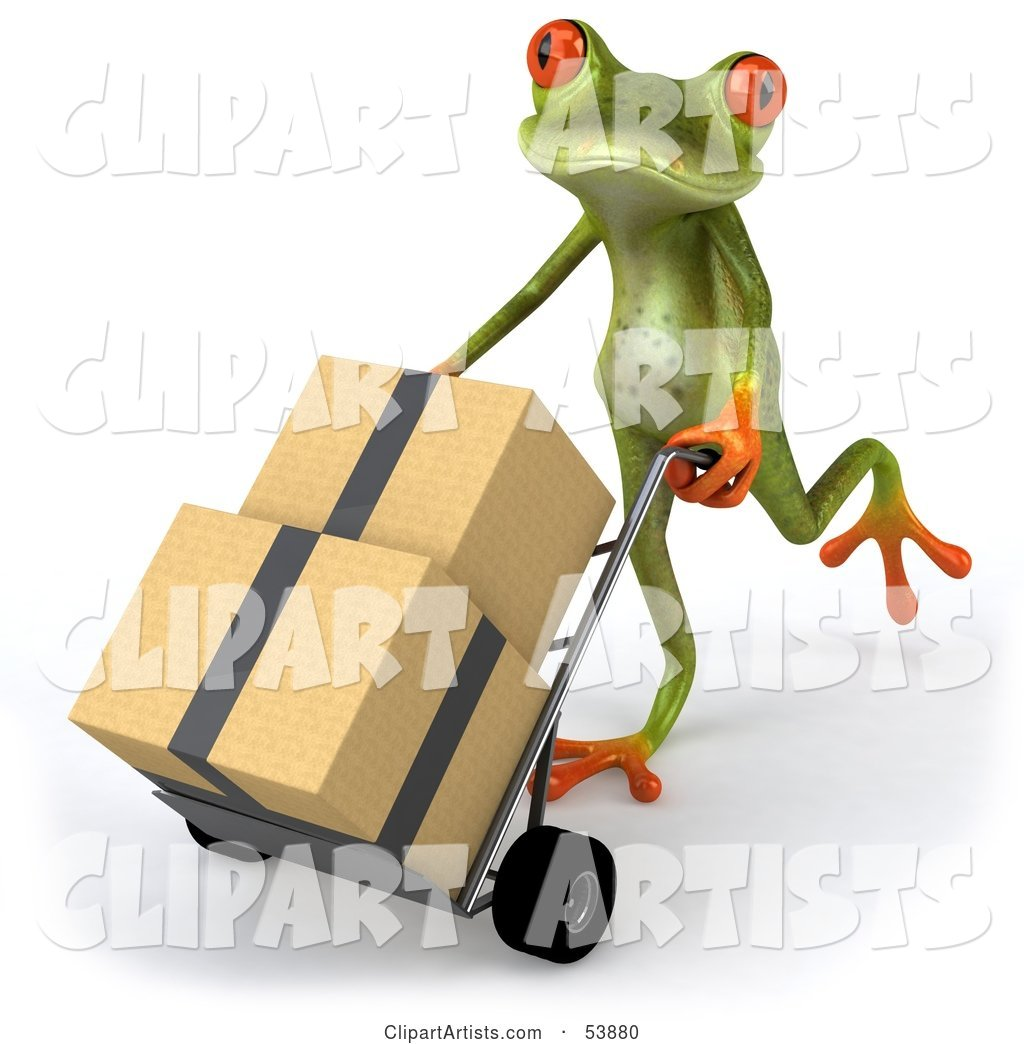 Cute Green Tree Frog Rolling Packages on a Hand Truck - Pose 2