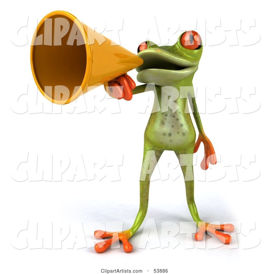 Cute Green Tree Frog Speaking Through a Megaphone - Pose 1