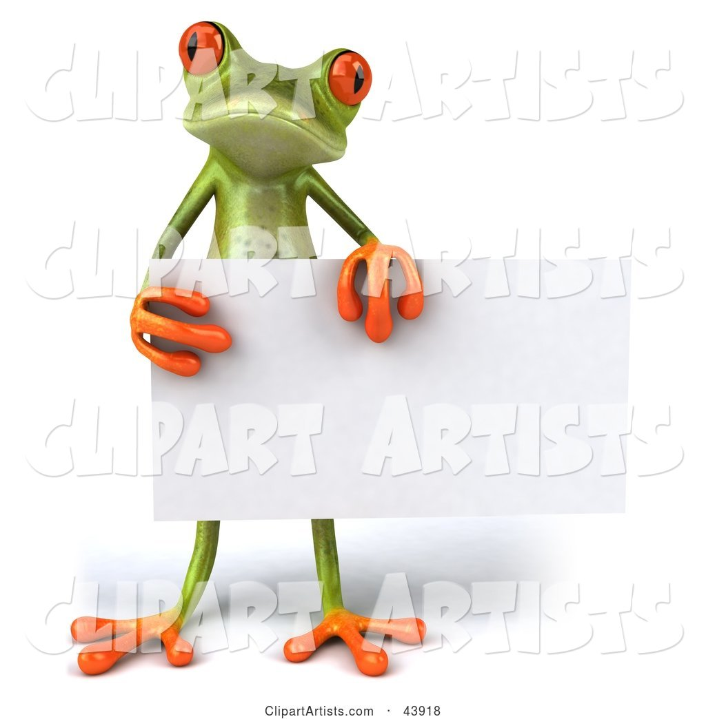 Cute Green Tree Frog Standing and Holding a Blank Sign