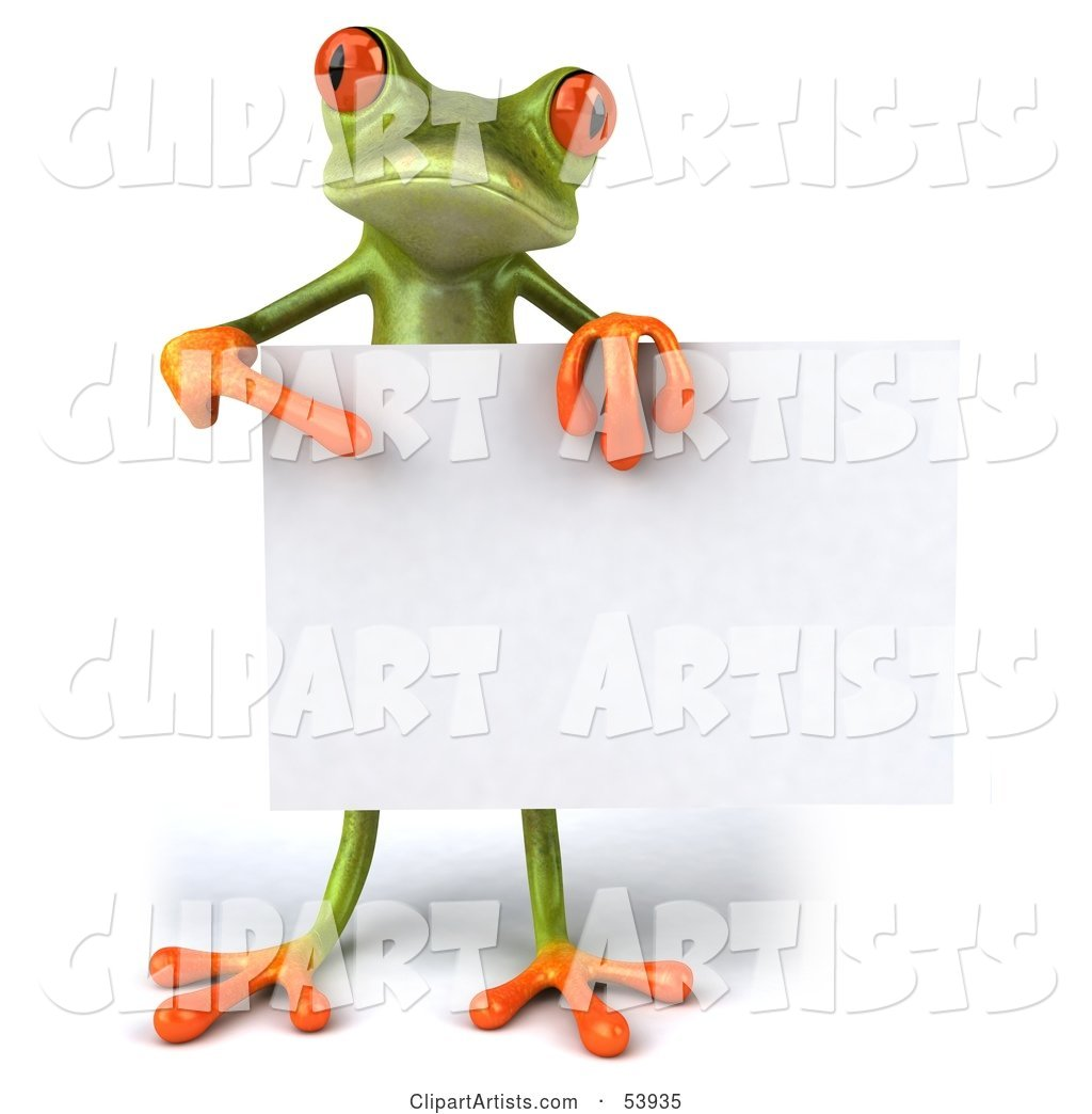 Cute Green Tree Frog Standing Behind a Blank Sign and Pointing to It