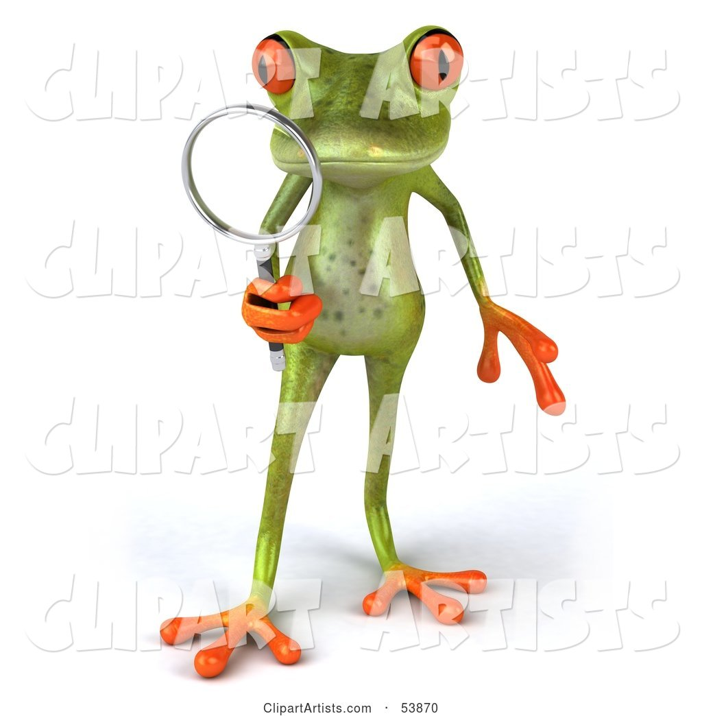 Cute Green Tree Frog Using a Magnifying Glass - Pose 1