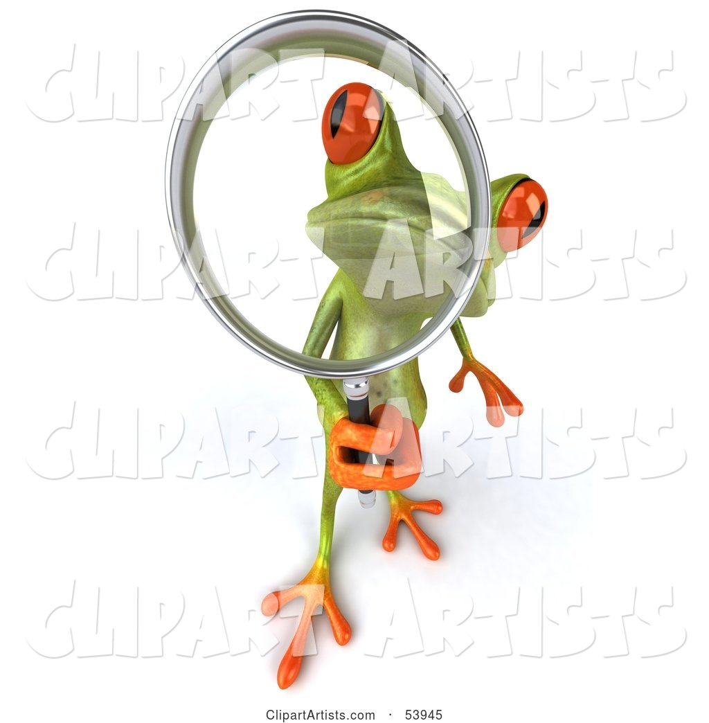 Cute Green Tree Frog Using a Magnifying Glass - Pose 3