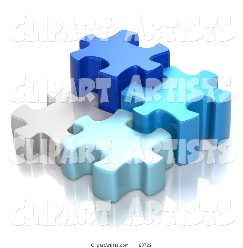 Different Sized Blue and White Puzzle Pieces